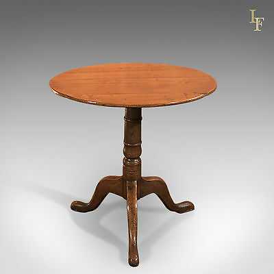 Antique Side Table, Circular, Georgian, Oak, Occasional, Tripod, English