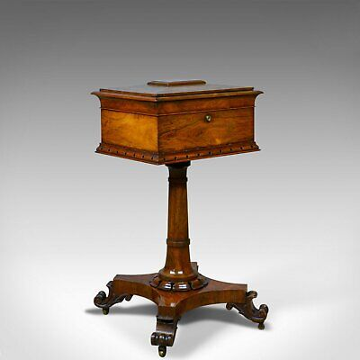 Antique Teapoy, English, William IV, Rosewood, Work Box, 19th Century Circa 1835