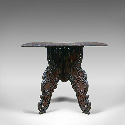 Anglo-Indian Antique Campaign Table, Carved, Teak, Side, Circa 1900