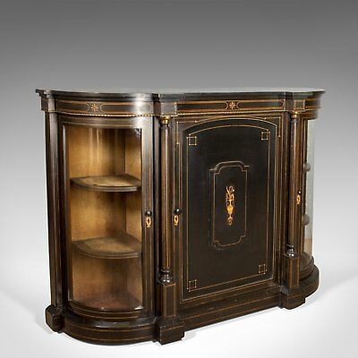 Antique Credenza, English Victorian Ebonised Cabinet, Classical Overtones c.1850