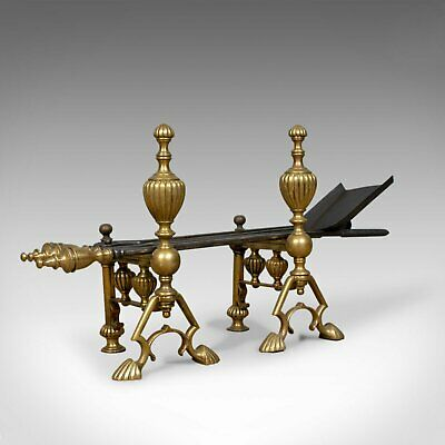 Antique Companion Set of Fire Irons on Rests, Classical Revival, Circa 1880
