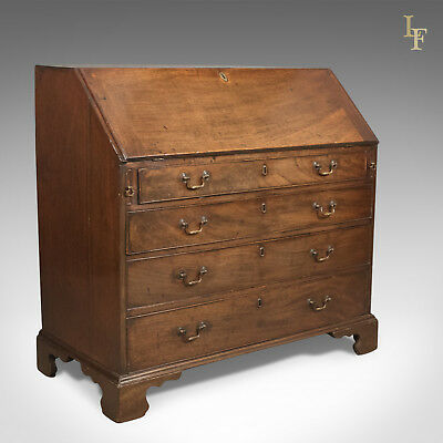 Georgian Antique Bureau, 18th Century Mahogany Desk, English c.1770