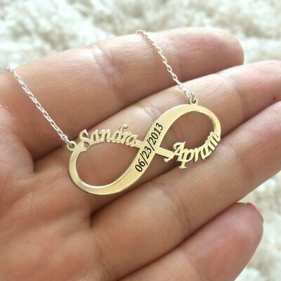 Personalized Stainless Steel Gold Any Name Plate Infinite Chain Necklace Double
