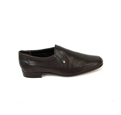 Mens True Vintage 80s St Michael Brown Leather Loafers Shoes UK 7 EUR 40.5 NEW