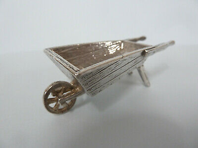MINIATURE Solid Silver WHEELBARROW, Chamberlain Clarke Partnership Lon 1999 c64g