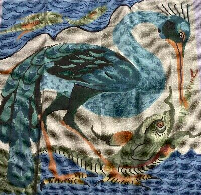 New Vintage Ehrman Tapestry Canvas Bird Catching A Fish 1992