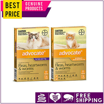 ADVOCATE for Cats 6 Doses Flea Heartworm Worm Treatment Fast and Free Shipping