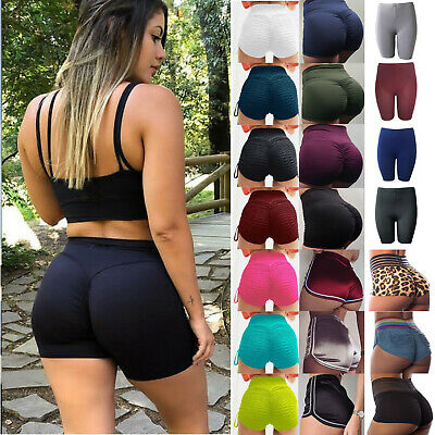Womens Yoga Shorts Pockets Push Up Booty Sports Stretch Fitness Workout Pants