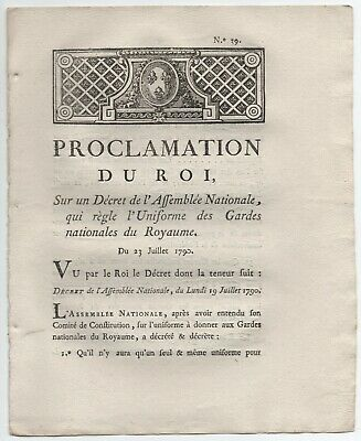 1790 Proclamation Du Roi Uniforme Des Gardes Nationales
