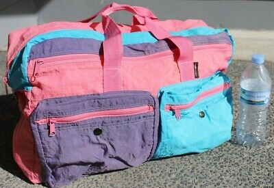 BNWT 80s Vintage Gym Bag in pastel parachute fabric