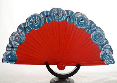 Spanish hand painted fan flamenco Hand painted small floral decoration wood fan