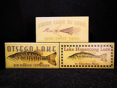 Fulton Chain Hopatcong Otsego lakes fishing lure box collection great decor