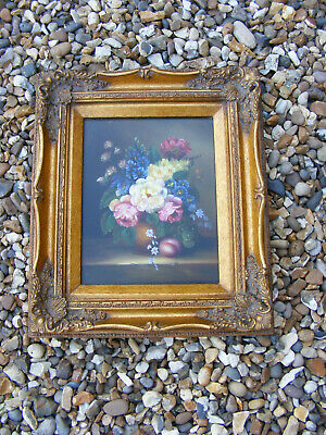 """Antique Style Oil Painted """"Flowers in Pitcher"""" Picture in Ornate Gold Gilt Frame"""