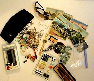 Junk Drawer Lot Watches Militaria Jewelry Postcards Marbles & More!