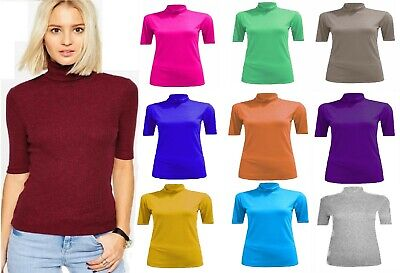 New Womens Ladies Turtle Polo Neck Top Ladies Short Sleeve High Neck T-Shirt Top