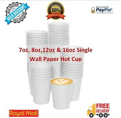 Disposable Paper Cup White Cups Single Wall Coffee Tea Hot Drink 7oz 8oz 12oz 16