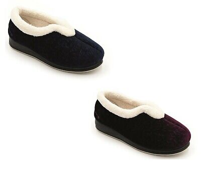 Womens Ladies Slippers Padders Memory Foam Slip On Textile Wide Fit UK 3-8
