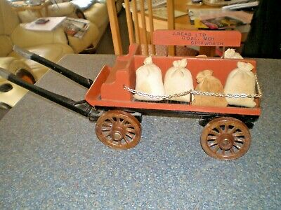 "Model Wooden Horse-Drawn Coal Dray ""J Read Spixworth"" Handmade & Decorated"