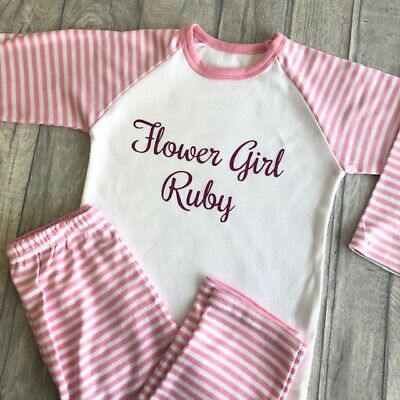 PERSONALISED FLOWER GIRL PYJAMAS, Wedding Gift Pink White PJs, Pink Glitter Name