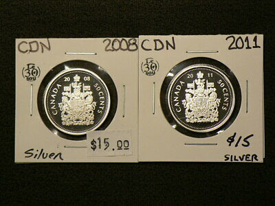 🍁 2008 & 2011 Canada 50 Cents Proof Silver 92.5%  #4344