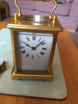 GENUINE ANTIQUE FRENCH CARRIAGE CLOCK. Original Key.brass.circa 1900s.
