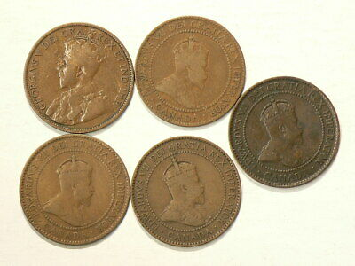 🍁 1902 to 1912 Canada Large Cents Lot of 5 Coins #4369