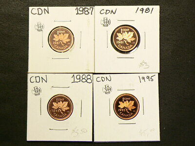 🍁 1981 1987 1988 1995 Canada Cent Proof Lot of 4 UNC Heavy Cameo #4363