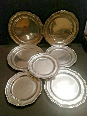 Lot of 7 Wilton Armetale RWP Glossy Pewter Metal Queen Anne Plates, Mixed Sizes