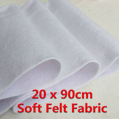 Soft Felt Fabric Non woven Sheet Patchwork Craft DIY Material White 20x90cm