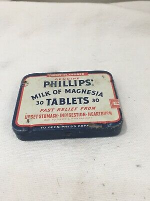 "Nice Old Vtg Antique Tin - Phillips' Milk Of Magnesia 30 Tablets"" Flat Metal Box"