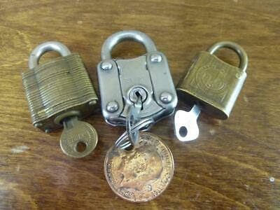3 Vintage padlocks all working with keys two brass one steel