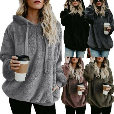 Womens Winter Faux Fur Teddy Bear Sweatshirt Hoodie Jumper Hooded Pullover Tops