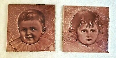 "Two American Encaustic Victorian Majolica Child Portrait 6"" Architectural Tiles"