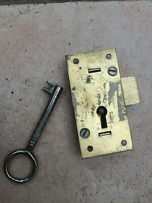 Vintage Brass 2 Lever Cupboard Lock with Key