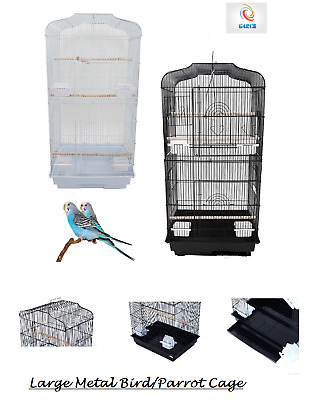 "37"" Rooftop Metal Large Bird Parrot Cage For Canary Budgie Cockatiel In 2 Colour"