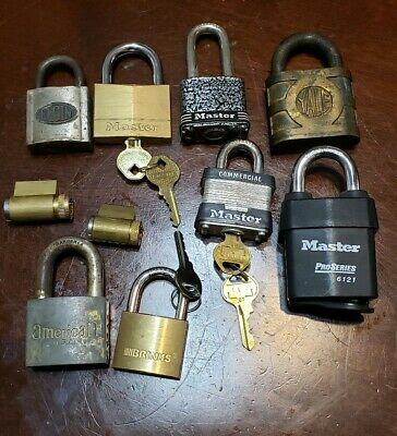 Lock And Padlock Lot Of 10 American Master Yale & more Some with working key