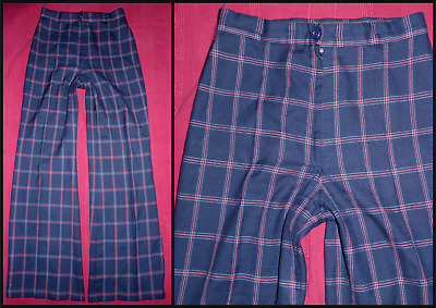 Vintage 70S Flared Checked High Waist Trousers Uk 10 Glam Hippy Northern Soul