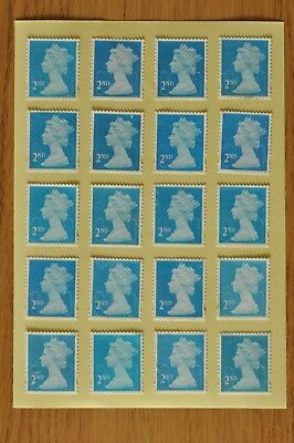 100 Blue Security Unfranked 2nd Second Class Stamps - Gummed - With Minor Faults