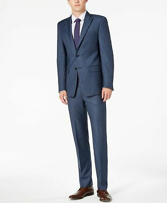 $852 Calvin Klein Men'S 44r Blue Slim X Fit 2 Piece Wool Suit Neat Jacket Pants
