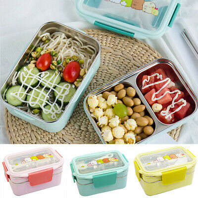 2-lagiger Thermo Lunchbox Brotdose Behälter Container Edelstahl Kinder Bento Box