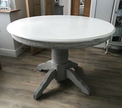 Solid Round Pedestal Table Painted In Grey And White, Heavy Lovely Table