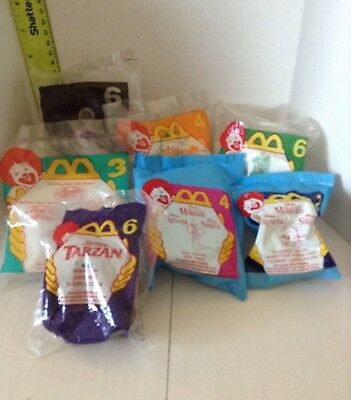 Lot of 7 Unopened McDonald's Happy Meal Toys Little Mermaid Tarzan Aladdin Gus