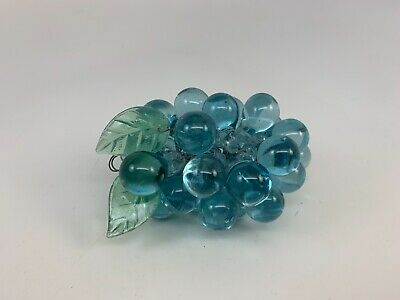 Vintage MID CENTURY Baby Blue GLASS GRAPES CLUSTER decorater hollywood!