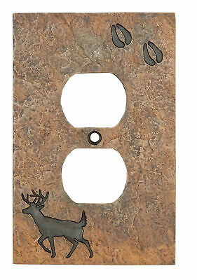 Deer with Tracks Rustic Hand-Cast Single Outlet Cover