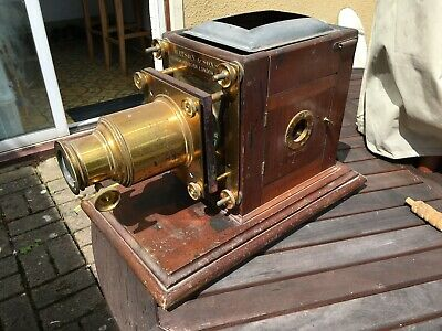Watson and Sons Antique Magic Lantern - Brass Projector On Mahogany Base