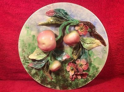 Wall Plaque Beautiful Antique French Majolica Palissy Apples & Flowers