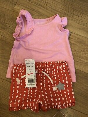 Baby Girls Next 6-9 Months Outfit Vest Top & Shorts Summer BNWT