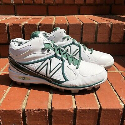 New Balance White And Green Rev Lite Molded Mid Baseball Cleats 12.5