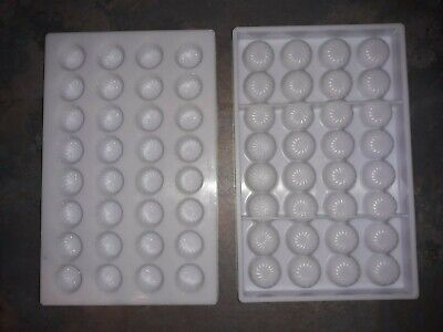 2x polycarbonate chocolate moulds with 32 round swirl cavities