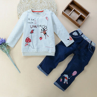 Ln_ Uk_ Lk_ Eg_ 2Pcs/Set Girls Cartoon Outfit Sweatshirt Long Sleeve Pullover